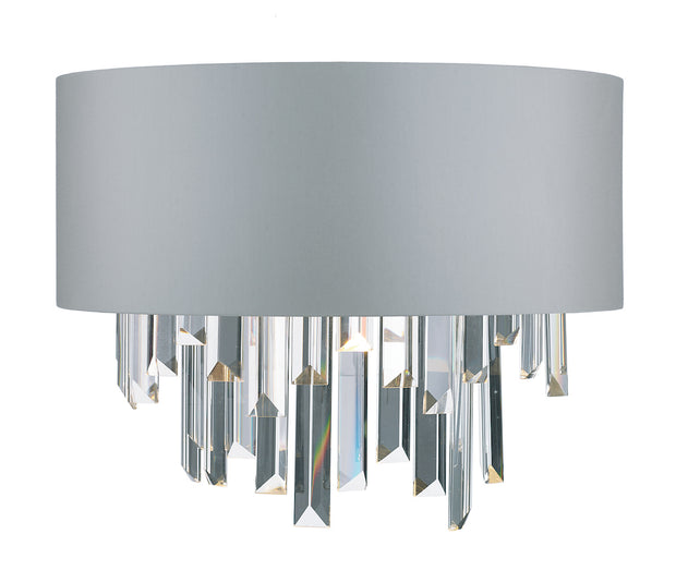 Dar Halle HAL0939 2 Light Wall Light Crystal Complete With Satin Grey Shade
