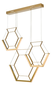 Dar Hexagon HEX0335 LED 3 Light Pendant In Satin Gold Finish