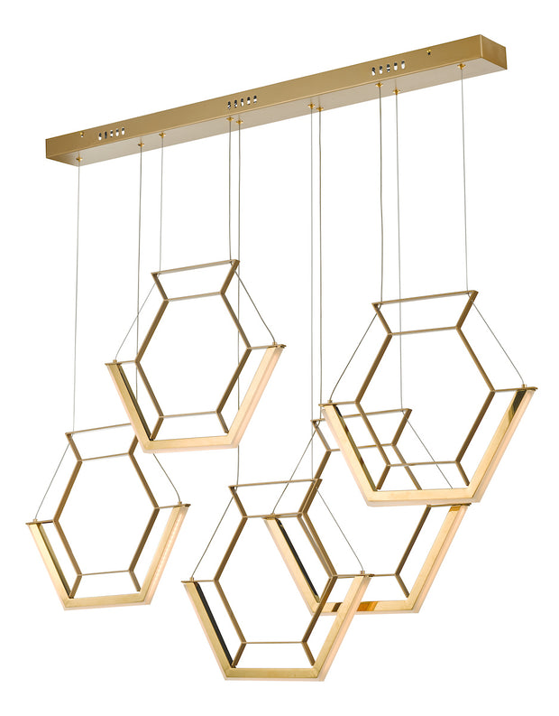 Dar Hexagon HEX0535 LED 5 Light Pendant In Satin Gold Finish