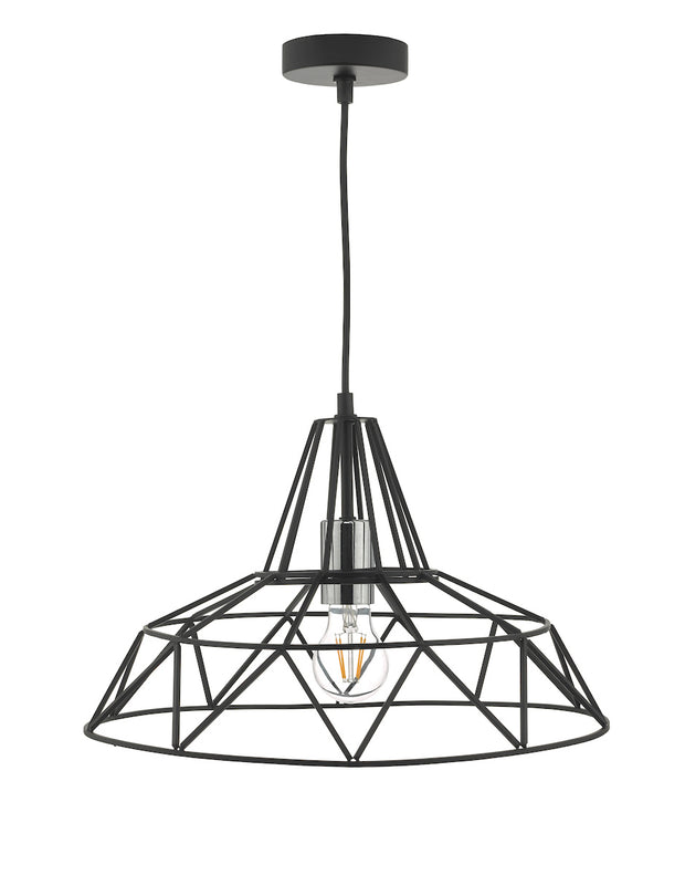 Dar Hitika HIT0122 Single Pendant In Satin Black & Polished Chrome Finish