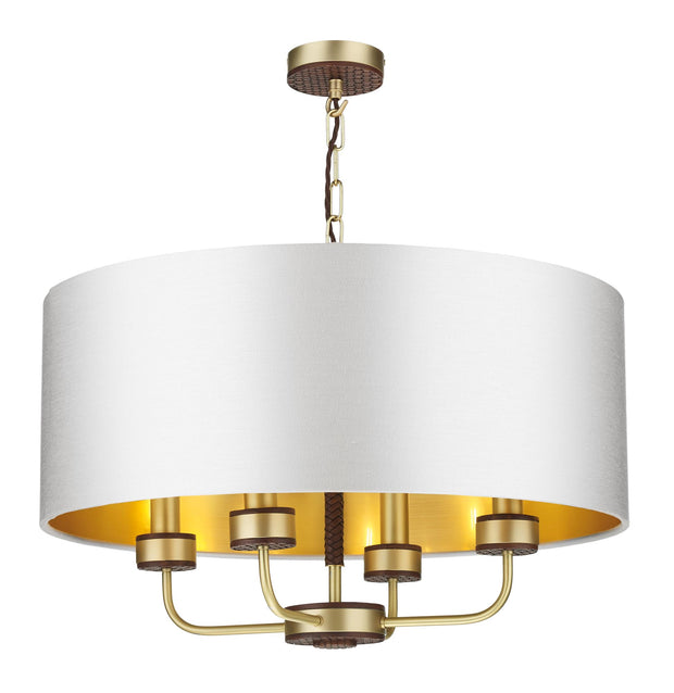 David Hunt Hunter HUN0440 Butter Brass 4 Light Leather Effect Pendant Complete With Shade (Specify Colour)