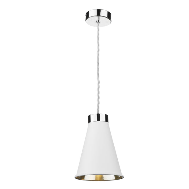 David Hunt Hyde HYD0102C Artic White Single Pendant Complete With Chrome Inner
