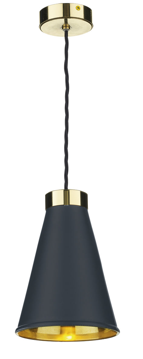 David Hunt Hyde HYD0123 Smoke Blue Single Pendant Complete With Brass Inner