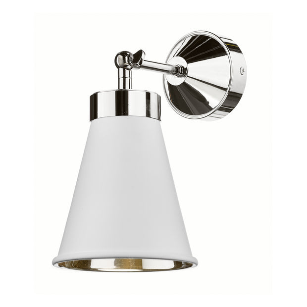 David Hunt Hyde HYD0702C Artic White Adjustable Single Wall Light Complete With Chrome Inner