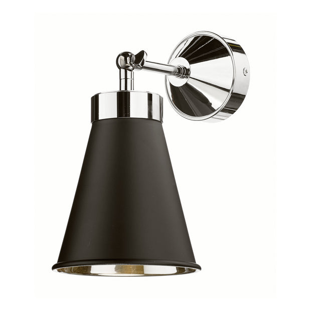 David Hunt Hyde HYD0722C Black Adjustable Single Wall Light Complete With Chrome Inner