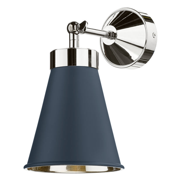 David Hunt Hyde HYD0723C Smoke Blue Adjustable Single Wall Light Complete With Chrome Inner