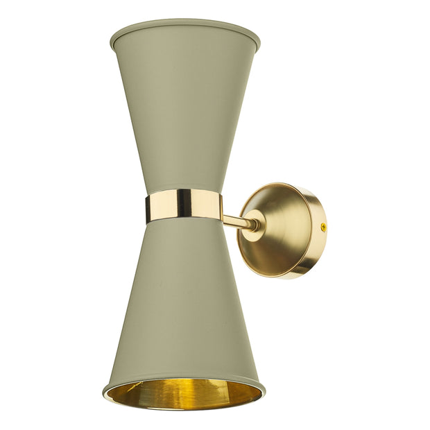 David Hunt Hyde HYD092 Pebble Double Wall Light Complete With Brass Inners