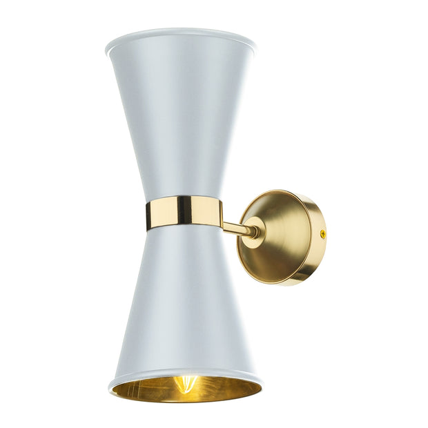 David Hunt Hyde HYD0902 Artic White Double Wall Light Complete With Brass Inners