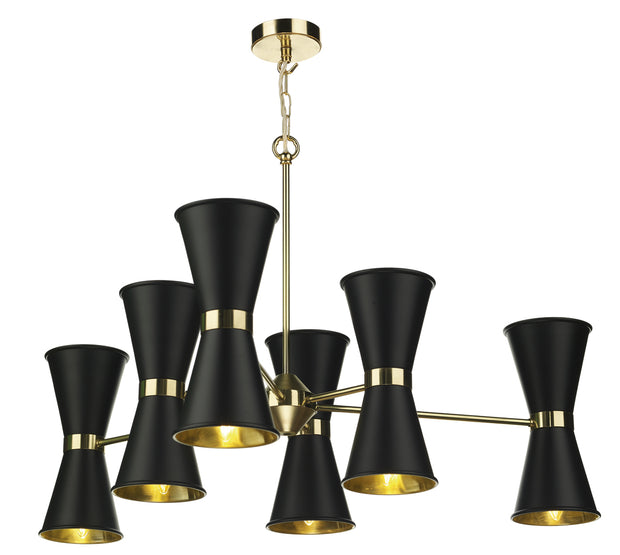 David Hunt Hyde HYD1222 Black 12 Light Pendant Complete With Polished Brass Inners