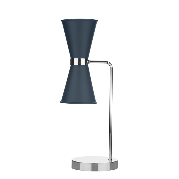 David Hunt Hyde HYD4223C Smoke Blue Table Lamp Complete With Chrome Inners