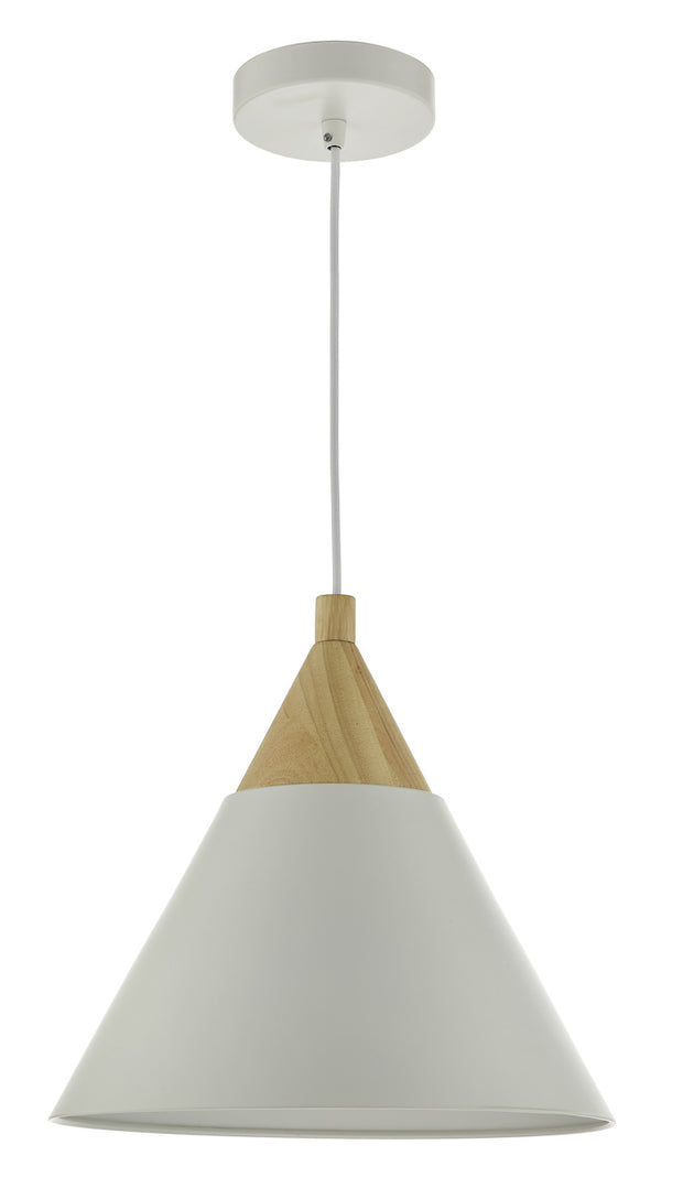 Dar Ilory ILO012 Single Pendant In Ivory And Natural Wood Finish