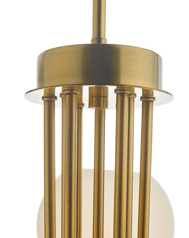 Dar Indra IND1335 9 Light Pendant In Natural Brass Finish With Opal Glass Shades