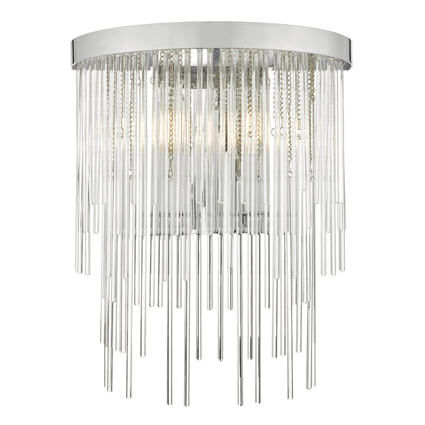 Dar Isla ISL0950 2 Light Wall Light In Polished Chrome Finish With Clear Glass Rods