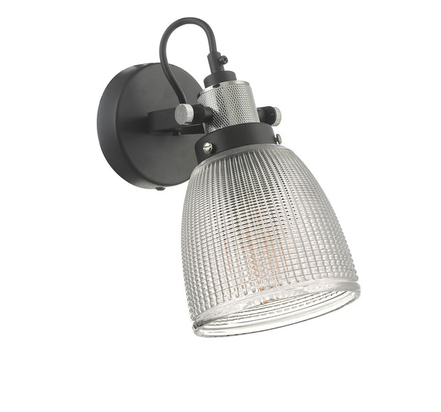Dar Ismet ISM0722 Single Wall Light In Matt Black & Polished Chrome Finish With Textured Glass Shade