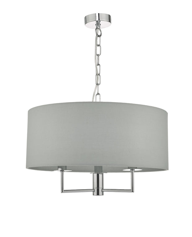 Dar Jamelia JAM0339 3 Light Pendant In Polished Chrome Finish Complete With Grey Shade