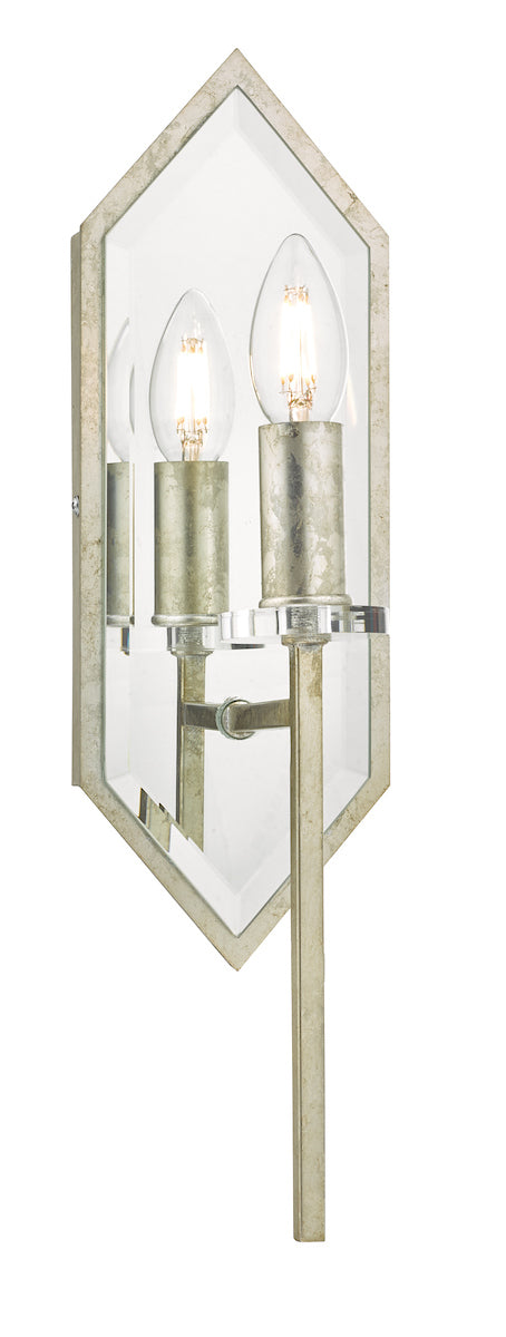 Dar Jozelle JOZ0756 Single Wall Light In Antique Silver & Mirror Finish