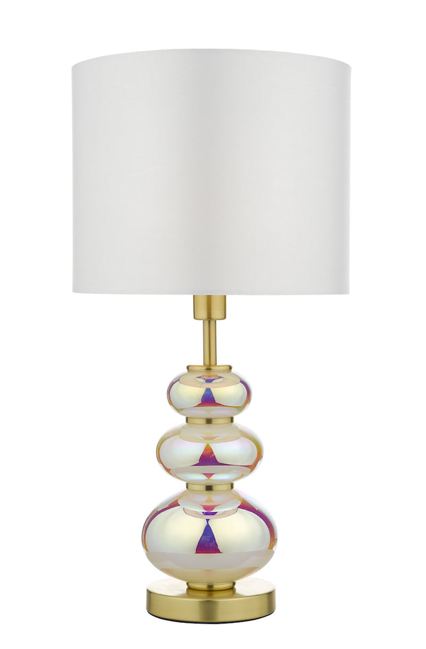 Dar Kiandra KIA4255 Table Lamp In Polished Brass Finish With Iridescent Glasses Complete With White Shade