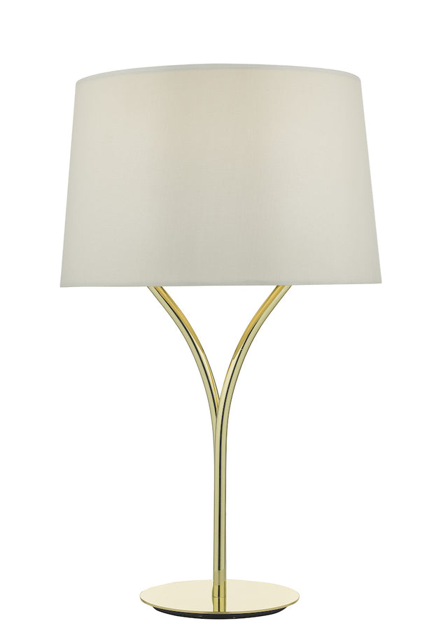 Dar Kinga KIN4235 Table Lamp In Polished Gold Finish Complete With Ivory Shade
