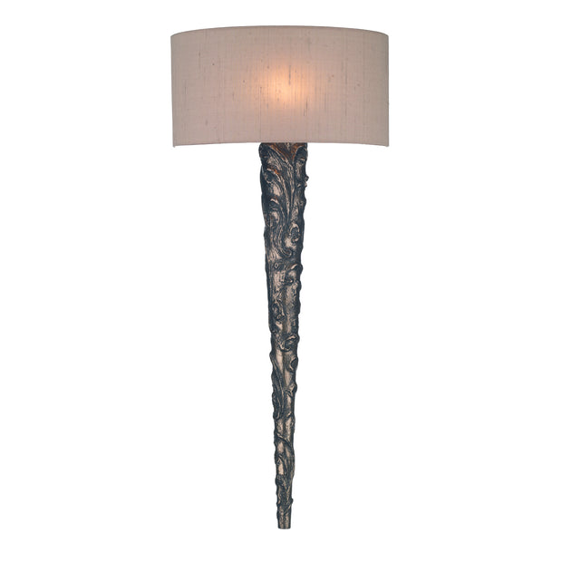 David Hunt Knurl KNU0763 Bronze Wall Light Complete With Silk Shade - (Specify Colour)