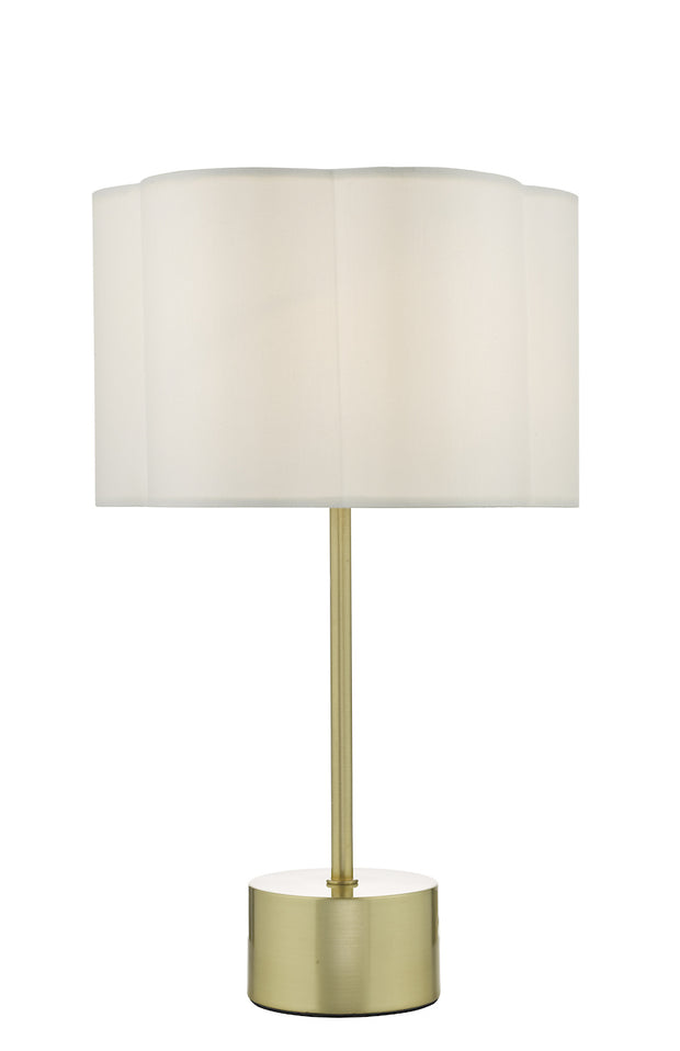 Dar Liliya LIL4241 Table Lamp In Satin Brass Finish Complete With Satin Ivory Shade
