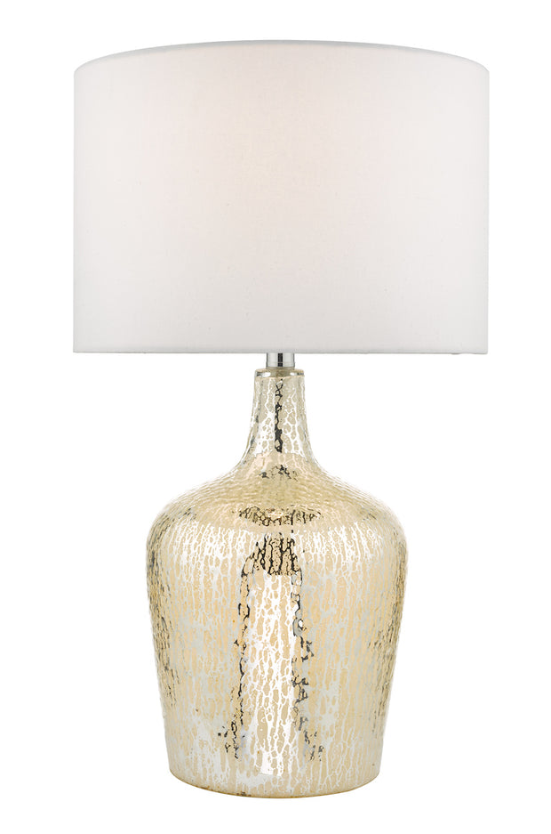 Dar Lolek LOL4232 Table Lamp In Silver Glass Finish Complete With Ivory Shade