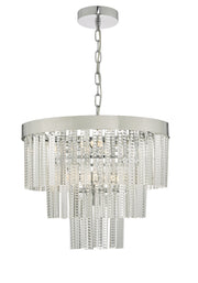 Dar Lorant LOR3408 7 Light 3 Tier Pendant In Polished Chrome & Glass Finish