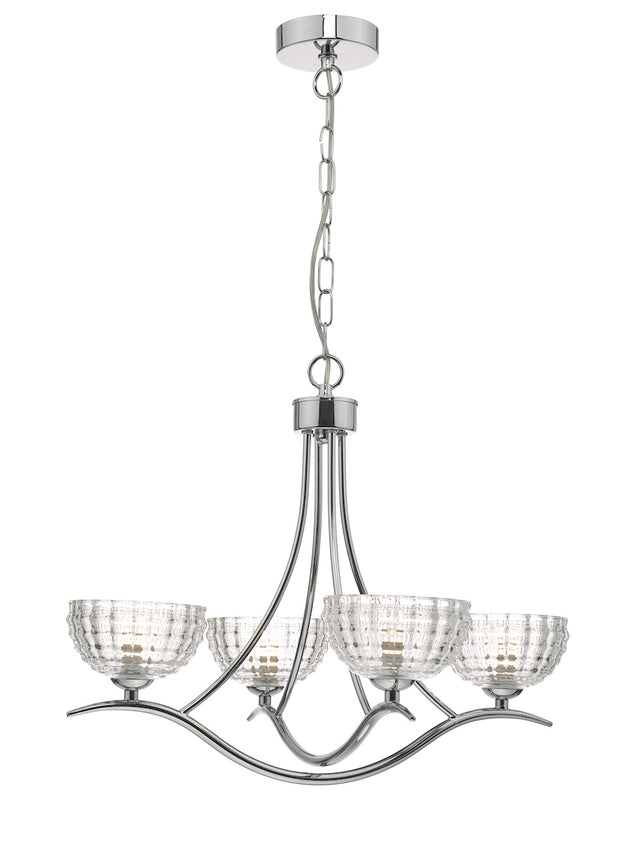 Dar Lurleen LUR0450 4 Light Pendant In Polished Chrome Finish & Glass Shades