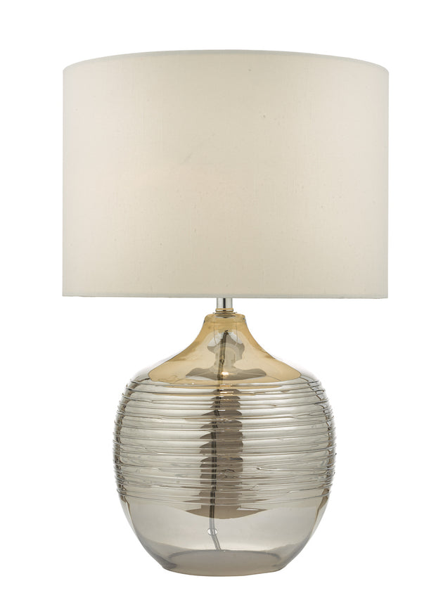 Dar Lylah LYL4256 Table Lamp Mirrored Glass Finish Complete With Ivory Shade