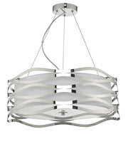 Dar Mizella MIZ0350 3 Light Pendant In Polished Chrome Finish Complete With Fabric Inner & Glass Diffuser