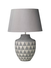 Dar Mulan MUL4239 Ceramic Table Lamp In Grey & White Finish Base Only