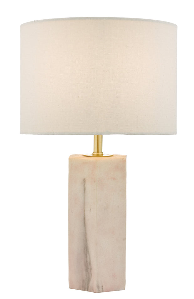Dar Nalani NAL4203 Table Lamp In Pink Marble Effect Finish Complete With Ivory Shade