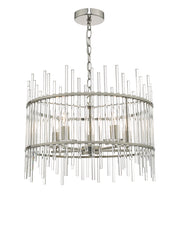 Dar Olyn OLY0538 5 Light Pendant In Polished Nickel Finish With Glass Rods