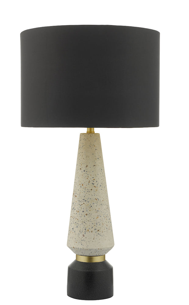 Dar Onora ONO4255 Table Lamp In Matt Stone & Matt Black Finish Complete With Black Shade