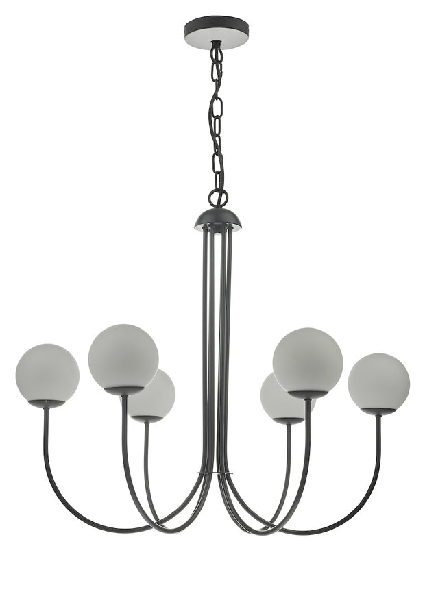 Dar Ornella ORN0622 6 Light Pendant In Matt Black Finish With Opal Glasses