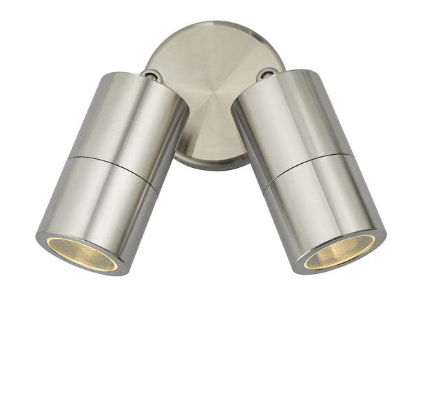 Dar Ortega ORT0968 Exterior 2 Light Wall Light In Brushed Aluminium Finish - IP65