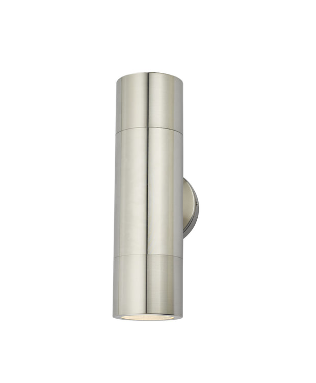 Dar Ortega ORT3268 Exterior 2 Light Wall Light In Brushed Aluminium Finish - IP65