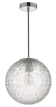 Dar Ossian OSS0108 Small Single Pendant In Polished Chrome Finish With Clear Glass