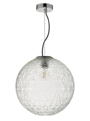 Dar Ossian OSS8608 Large Single Pendant In Polished Chrome Finish With Clear Glass