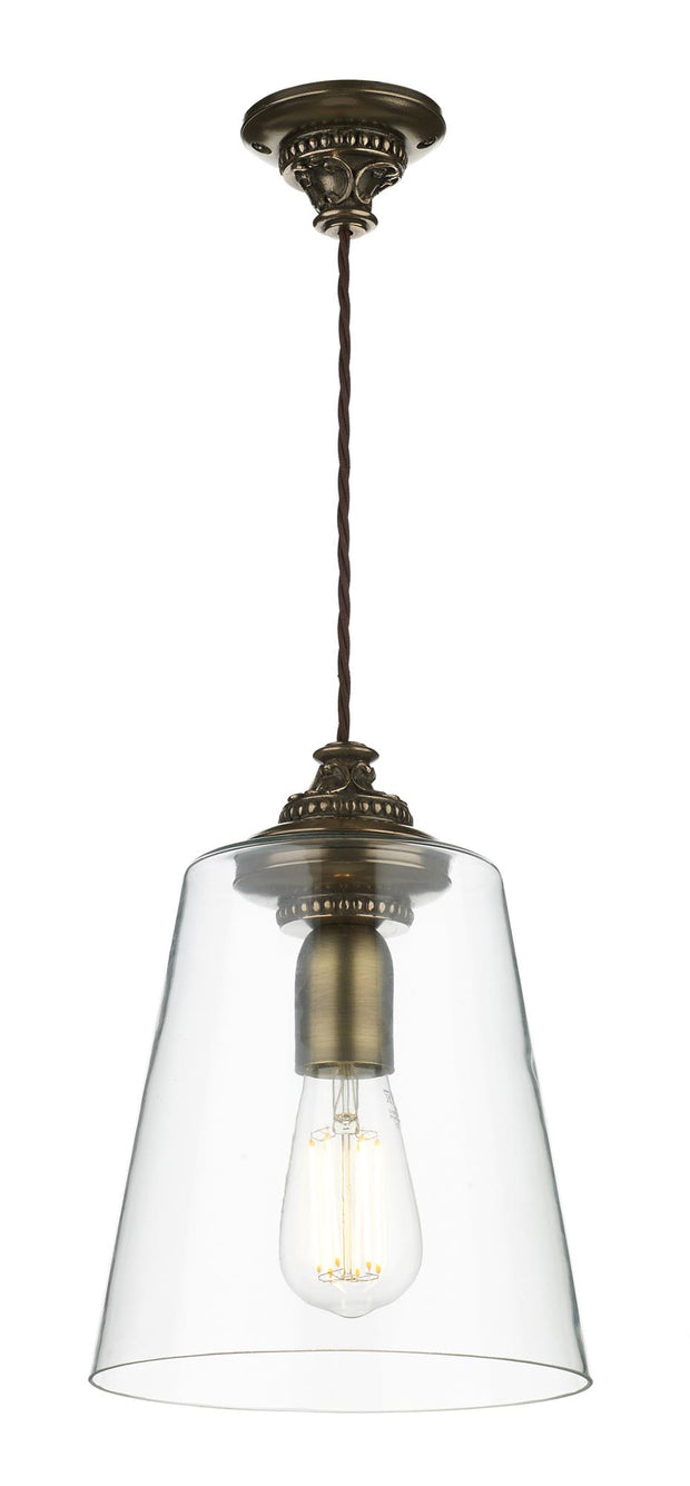 David Hunt Oyster OYS0163 Bronze Single Pendant Complete With Clear Glass