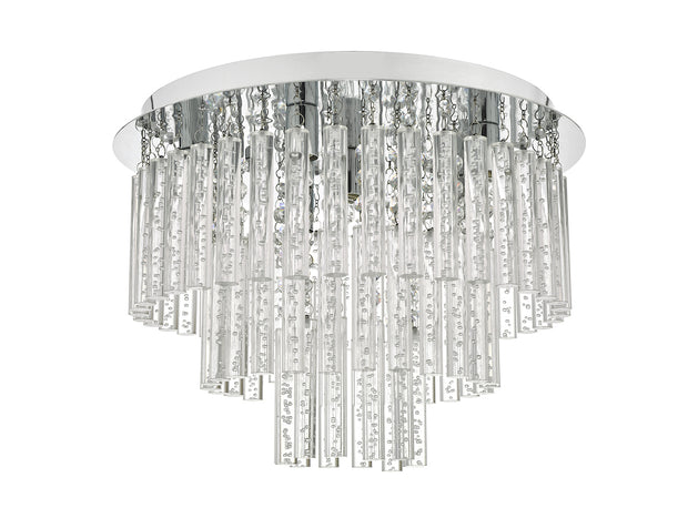Dar Paulita PAU5450 5 Light Flush Ceiling Light In Polished Chrome Finish With Clear Glass Rods - IP44