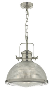 Dar Peyton PEY0146 Single Pendant In Satin Nickel Finish With Clear Textured Glass