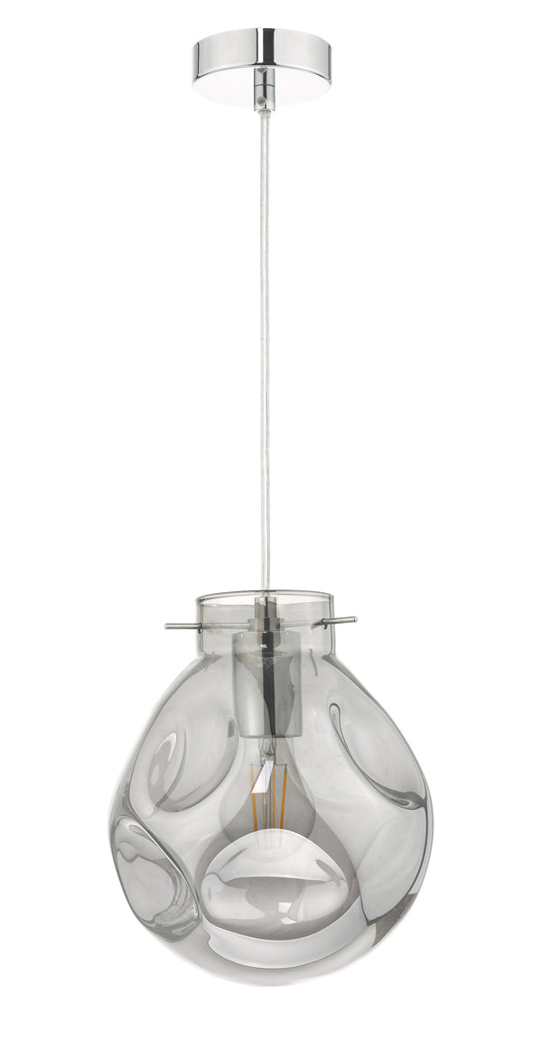 Dar Quinn QUI0110 Single Pendant In Polished Chrome Finish With Smoked Class
