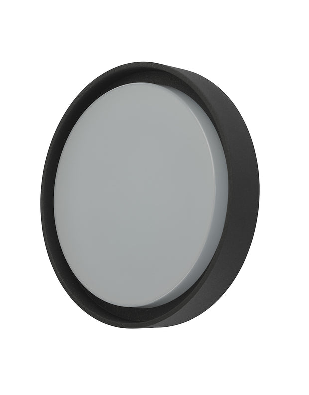 Dar Ralph RAL5039 Exterior Large Round Flush Ceiling/Wall Light In Anthracite With White Plastic Diffuser - IP65
