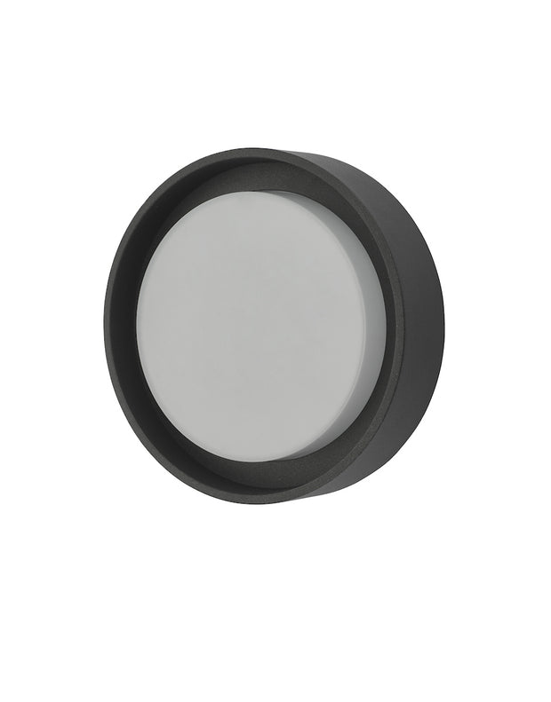 Dar Ralph RAL5239 Exterior Small Round Flush Ceiling/Wall Light In Anthracite With White Plastic Diffuser - IP65