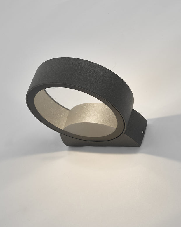 Dar Reon REO3239 Exterior Single LED Circle Wall Light In Anthracite Finish - IP65