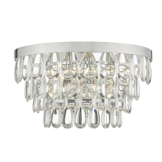 Dar Sceptre SCE0950 2 Light Wall Light In Polished Chrome With Clear Glass Droplets