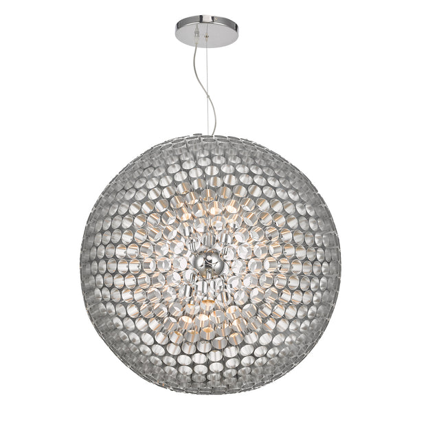 Dar Serafina SER8650 6 Light Large Pendant In Brushed Chrome Finish