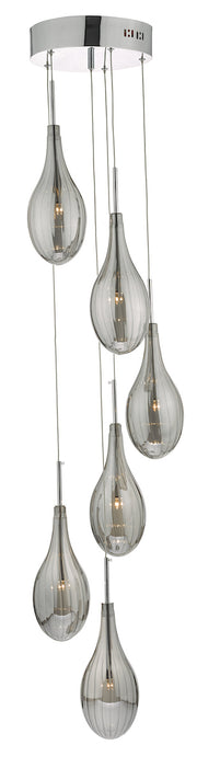 Dar Seta SET6410 6 Light Cluster In Polished Chrome Finish With Smoked Glass