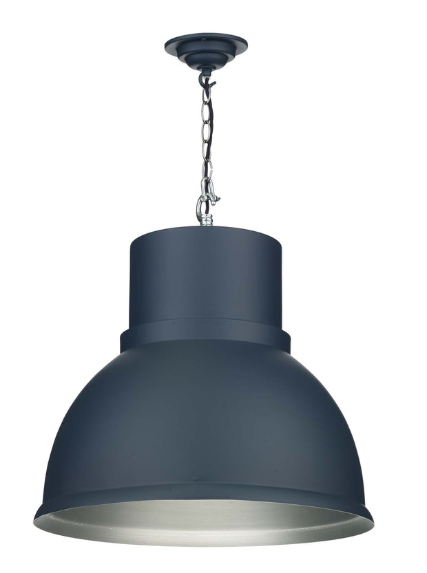 David Hunt Shoreditch SHO8623C Smoke Blue Large Single Pendant Complete With Brushed Chrome Inner