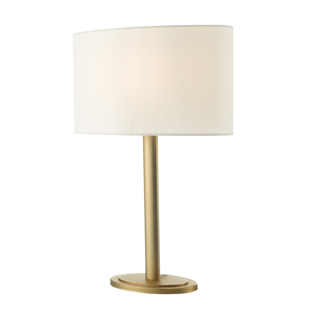Dar Shubert SHU4263 Table Lamp In Satin Bronze Finish Complete With Ivory Shade